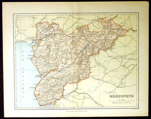1886-Weller-Antique-Map-Welsh-County-of-Merionth