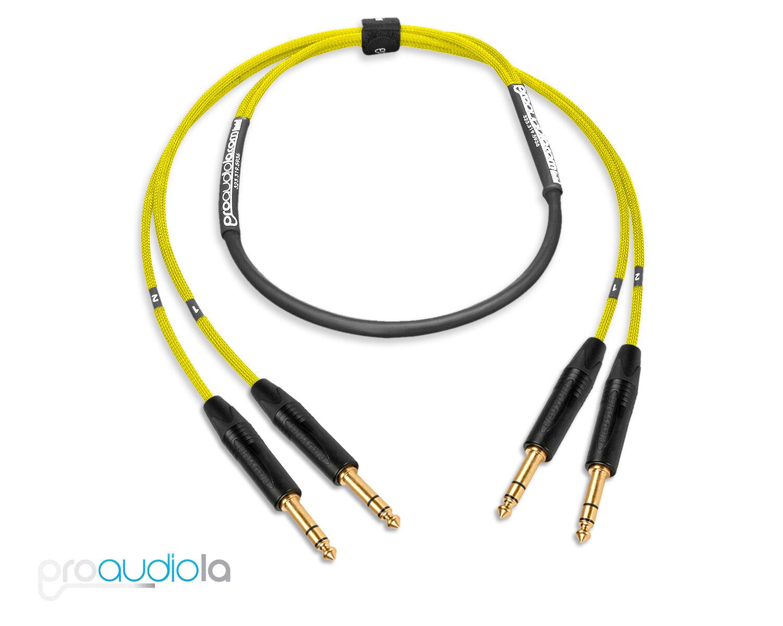 Premium 2 Channel Mogami 2930 Snake Neutrik Gold TRS to TRS Gelb 8 ft