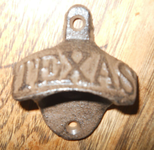 25 TEXAS Cast Iron Bottle Opener Rustic Brown Finish Wall Mount Man Cave