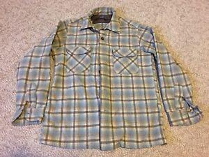 Vtg-Pendleton-100-Virgin-Wool-Men-039-s-M-Plaid-Button-Up-Shirt-Blue-Tan-Brown