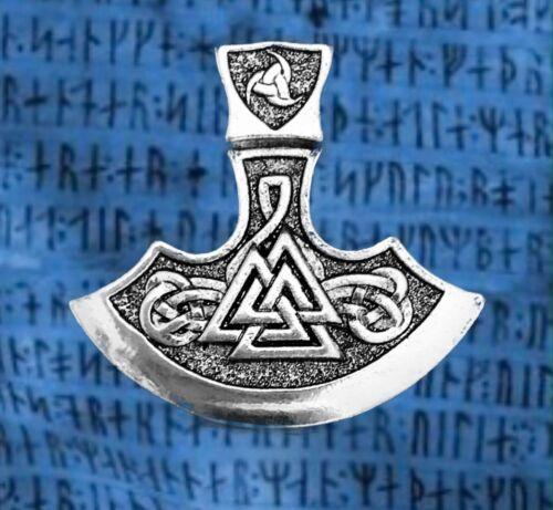 Wikingeraxt Valknut Rune Odinshorn K1.7 Odinsknoten Wotan Lederband Vegvisir