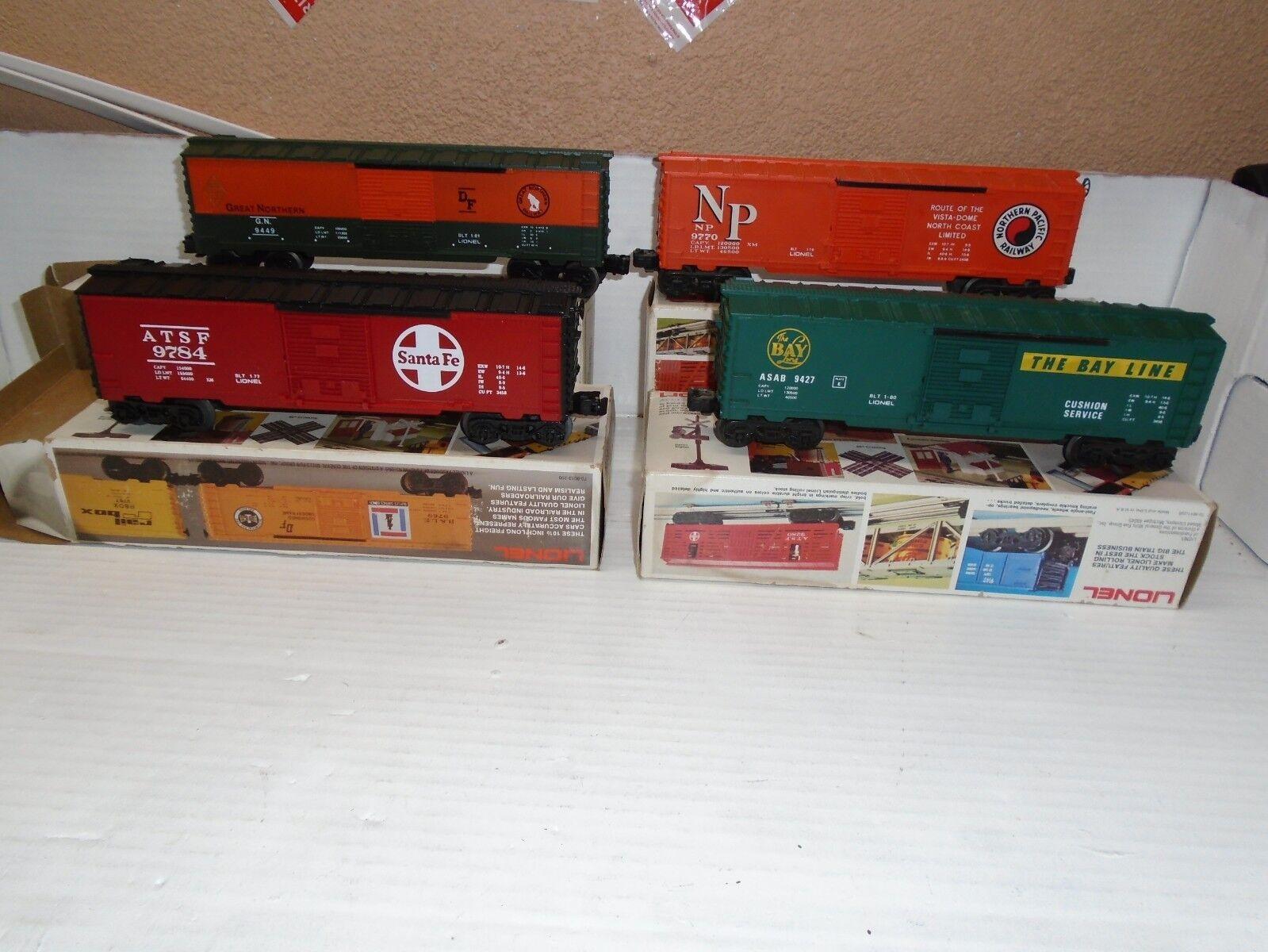 O Scale MPC (4)Lionel (4)Lionel (4)Lionel Boxcars 6-9449,6-9784,6-9770 & 6-9427 185e9a