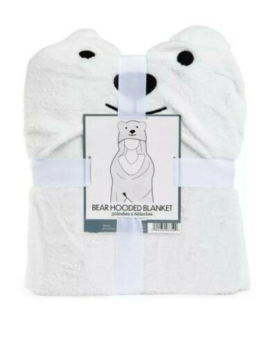 "Warm /& Snuggly White Bear Hooded Blanket Super Soft 50""x 60"""