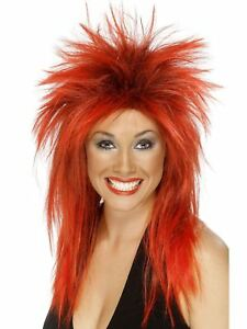 Smiffy-039-s-1980-039-s-Rock-Diva-Red-amp-Black-Tina-Turner-Synthetic-Wig