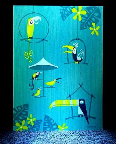 "SHAG Rare 2003 Disney Enchanted Tiki Room /""AVIARY ROOM/"" Note Card Greeting MINT"