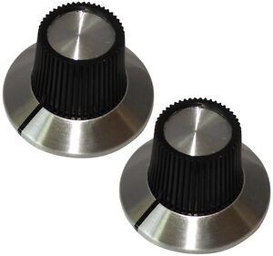 2 Boutons De Potentiomètre Pour Axe Lisse 6.35mm Ø15x18,1mm Noir/argent Knxn5svb-07185013-311726162