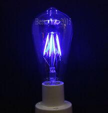 Vintage Edison Bulb LED COB Filament Squirrel Cage Light E27 Screw ES Lamp Blue