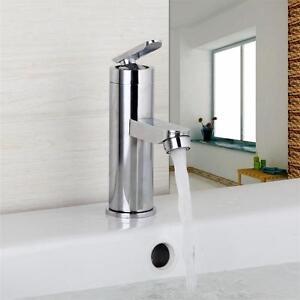 U-Chrome-Brass-Waterfall-Bathroom-Basin-Faucet-Single-Handle-Hole-Sink-Mixer-Tap