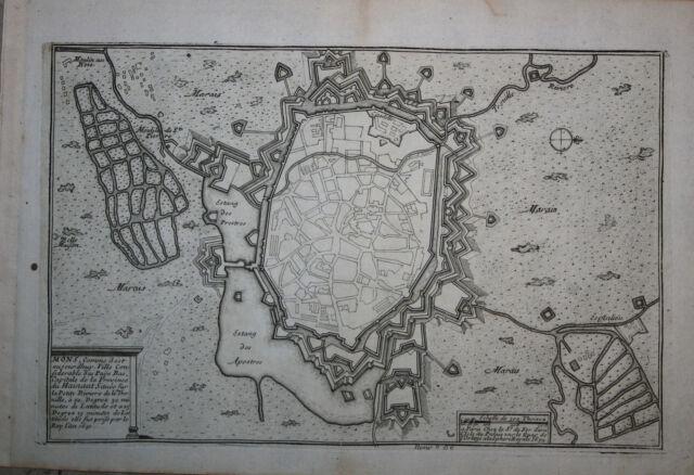 2) Mons - N. De Fer 1690-95 Orig. Etching
