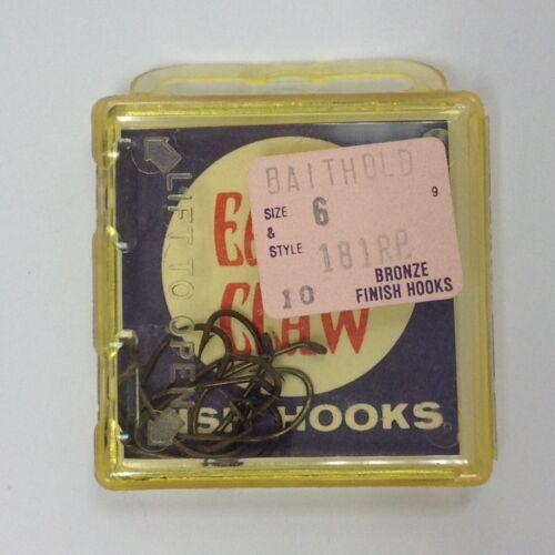 Eagle Claw Baitholder Down Eye Fish Hooks 181RB Sz 6 Bronze 10pk Box