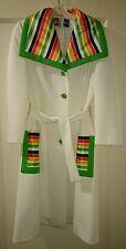 VTG Lilli Ann's Knit Knee Length Coat Belted Mod Coat Hipster Multi Color Coat