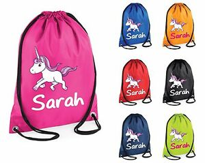 Image Is Loading Personalised Unicorn Gym Bag Swim Nursery Drawstring