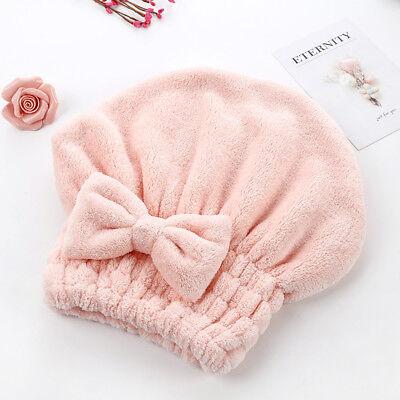 Lady Microfiber Towel Quick Dry Hair Drying Bowknot Wrap Hat Cap Spa Bathing