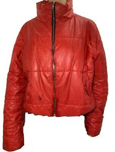 Femme-RISING-rouge-doudoune-taille-XL-UK-14-16-Fermeture-Eclair-Bomber-court