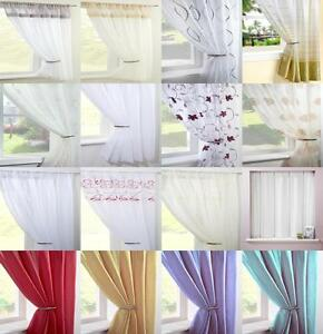 Image Is Loading CLEARANCE VOILE CURTAIN PANELS PLAIN FLORAL STRIPED CURTAINS