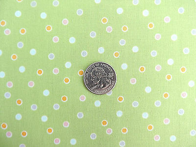 100% Cotton Fabric - Riley Blake  Colorful Dots on Green - By The Yard