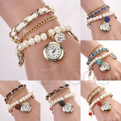 Women Anchor Leather Faux Pearl Band Analog Quartz Bracelet Vintage Wrist Watch