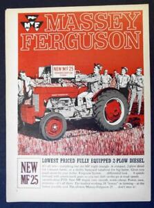 Details about Original 1963 Massey Ferguson MF 25 Ad LOWEST PRICE FULLY  EQUIPPED 2 PLOW DIESEL