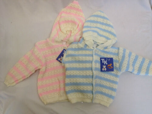 Newborn Baby Knitted Cardigan with Hood 0-3 3-6 6-9 Month New Boys Girls Vintage