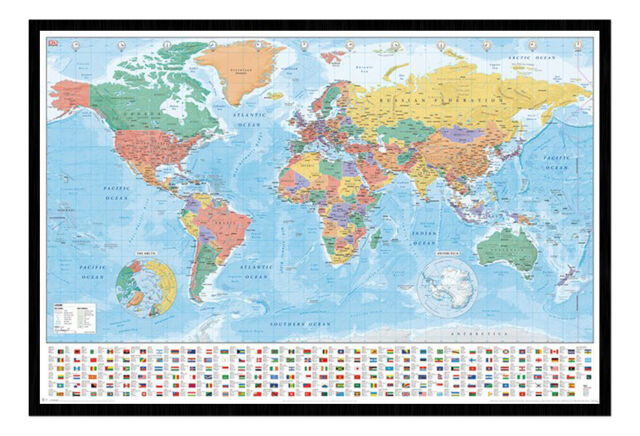 World Map With Flags And Facts Framed Cork Pin Notice Board With Pins