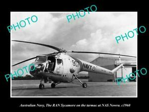 POSTCARD-SIZE-PHOTO-OF-AUSTRALIAN-NAVY-SYCAMORE-HELICOPTER-AT-NAS-NOWRA-c1960