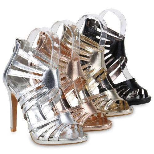 Damen Abiball Riemchensandaletten Stiletto High Heels Hochzeit 820330 Schuhe