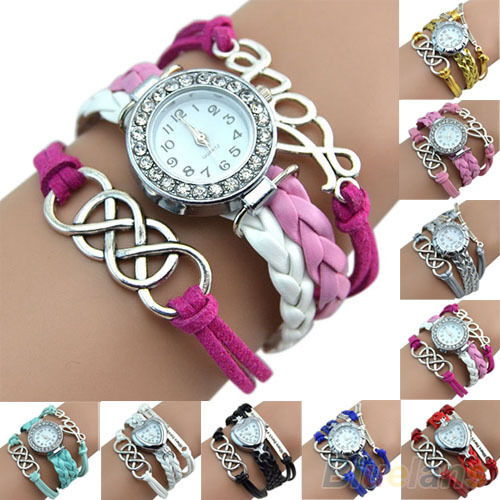 Womens Modish Crystal Dual Eight Love Charm Trendy Leather Bracelet Wrist Watch
