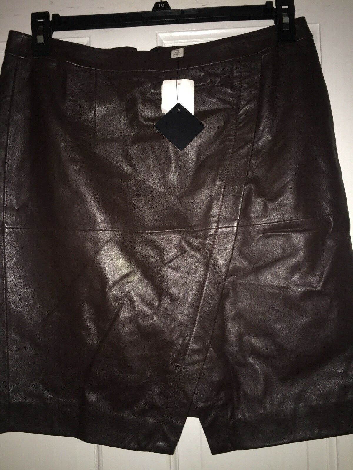 Brand New Halogen Chocolate Brown Leather Skirt Size 10P