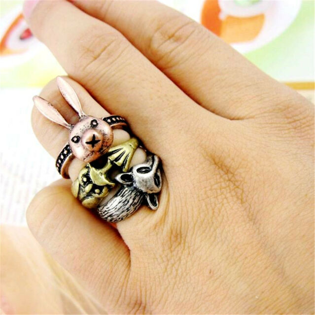 Vintage antique style rabbit bunny / wolf / owl charm ring