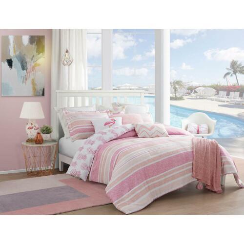 Caribbean Joe Pineapple Whimsical Girl 4-Piece Reversible Comforter Set