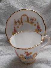 Royal Albert Dainty Dinah Tan Stencil Gold-Colored Trim  Cup and Saucer