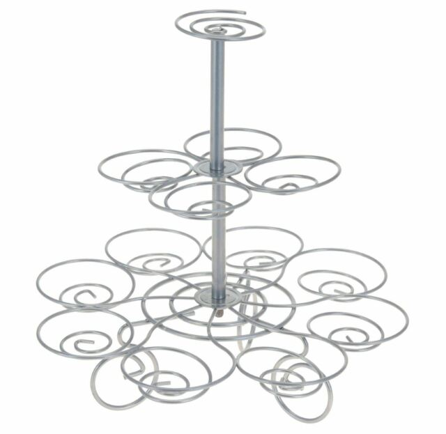 La Cucina Wire 3 Tier Fairy Cup Cake Cupcake Muffin Stand Holds 13 Cupcakes