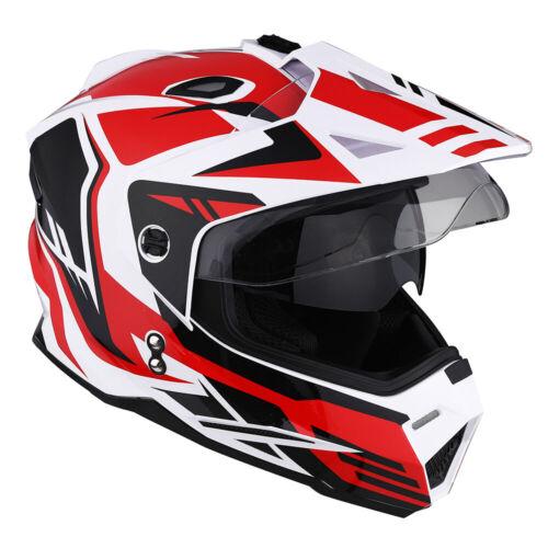 1Storm DOT Dual Sport Dual Visor Motorcycle Motocross Full Face Helmet Red