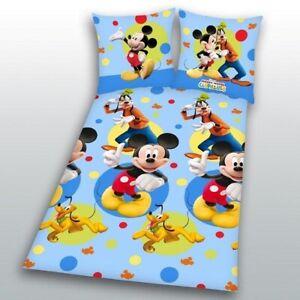 Bettwaesche-Mickey-Mouse-hellblau-135x200-80x80-cm-Donald-Duck