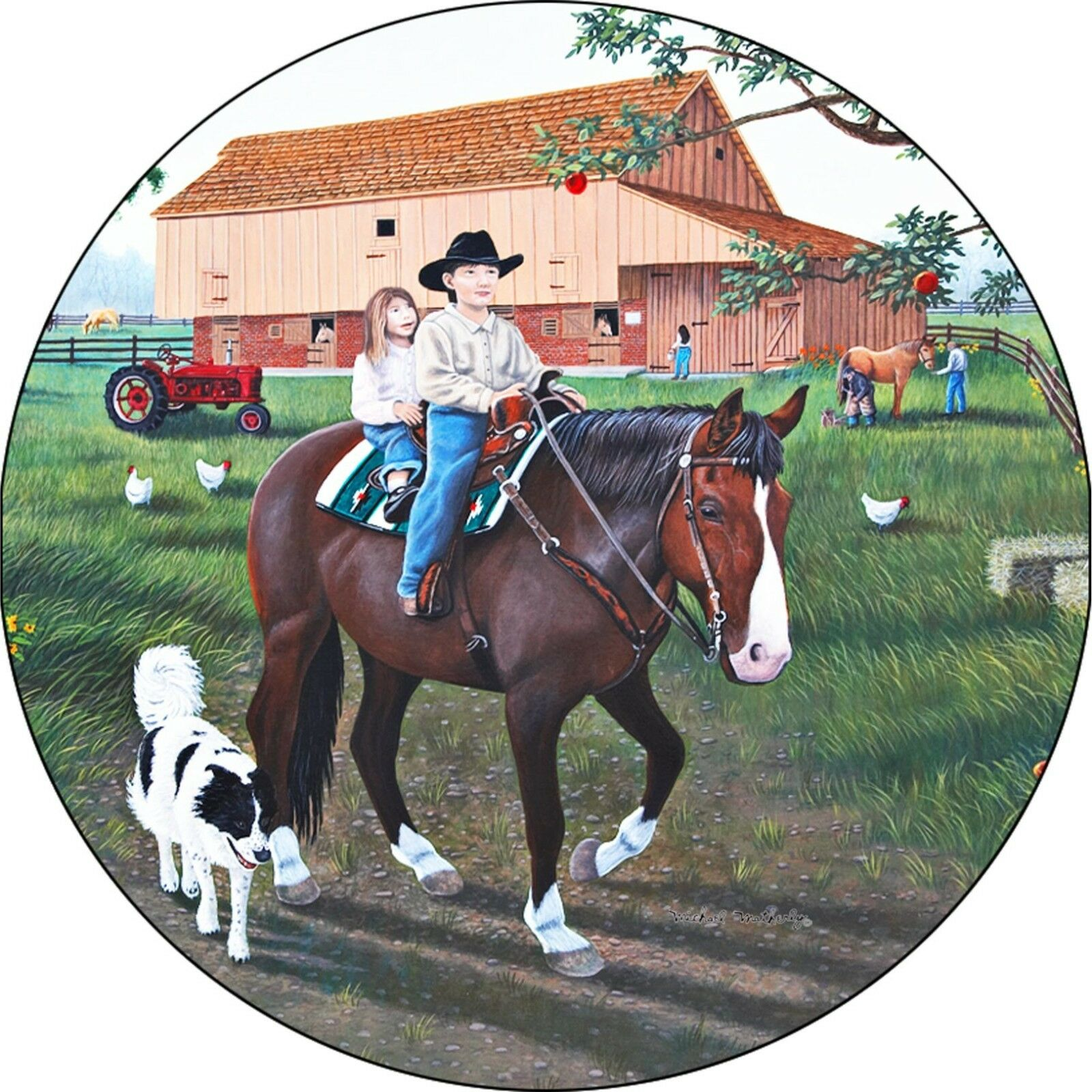 Horse A Day on the Farm Spare Tire Cover Jeep RV Camper Trailer(all sizes)