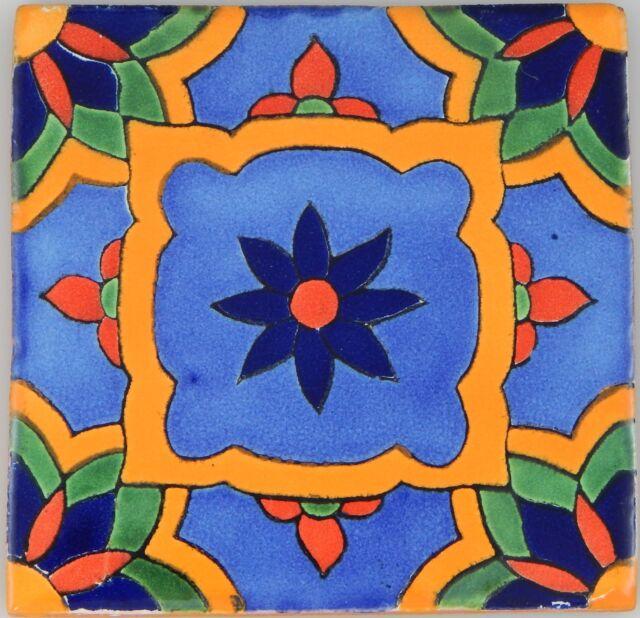 Mexican Tile Folk Art Handmade Talavera Backsplash Handpainted Mosaic # C350