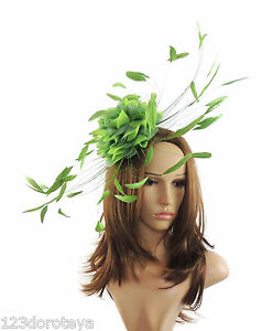 Lime Green Fascinator Hat for Weddings Ascot Proms With Headband M1 ... 86f908a0f19