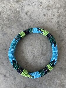 Beaded Green Blue Native American Aztec Navajo Bangle Bracelet