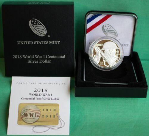 2018 Proof World War I Centennial 90/% Silver Dollar Coin with Box and COA WW1