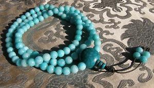 MALA-Gebetskette-tuerkise-Jade-amp-Tuerkis-Guru-Bead-aus-NEPAL-8mm-BESTE-QUALITAT