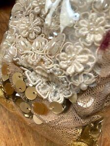 Assorted Appliques Panel Trim Pieces White & Gold 1 Grab Bag