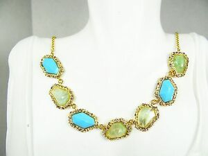 ALEXIS BITTAR Cholulian Faceted Turquoise & Moss Quartz Gold Plated Necklace