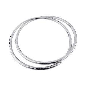 Double-Hammered-Texture-Bangle-Bracelet-925-Sterling-Silver-Interlocking