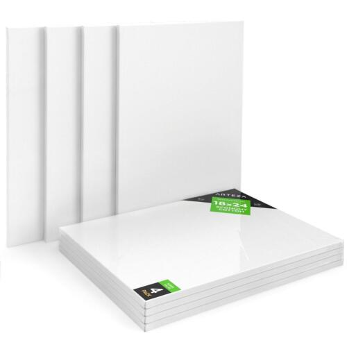 100/% Cotton Arteza 18x24 Stretched Canvas Pack of 4