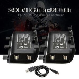 2pcs-2400mAh-Batteries-Rechargeable-USB-Charge-Cable-Kit-Pour-Manette-Xbox-One