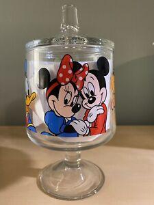 Disneyland-Mickey-039-s-Glass-Candy-Jar-With-Lid-Mickey-Minnie-Donald-Duck-Goofy