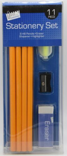 8 HB Pencils Tallon 11 Piece Stationery Set Sharpener Eraser /& Highlighter