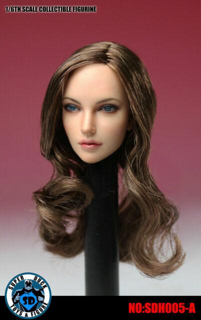 Orange 1//6 Female Head Sculpt Long Hair Head Europe Girl Head Fit HT Figure