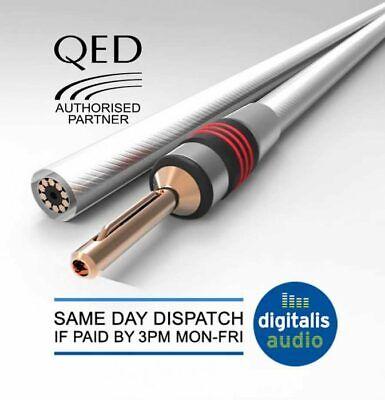 QED Reference XT25 2 Unidades, Conectores bananos, 4 mm, 8 Conectores en Total Cable para Altavoz 3 Metros