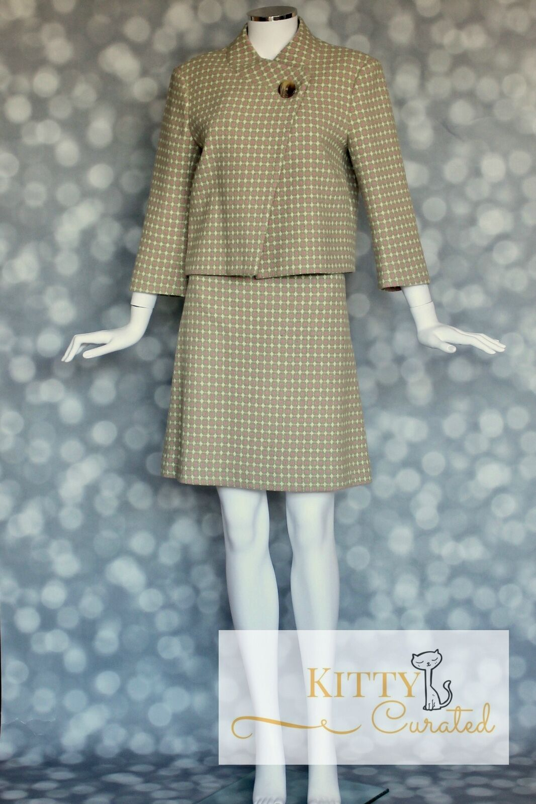 Lilly Pulitzer Vintage 1990's Printed Wool Skirt Suit - Sz 10